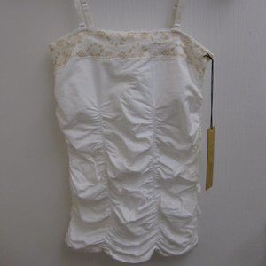 NWT Guess ruched white tube tank top cami XS/S